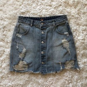 Free People, Denim Skirt with Button Front